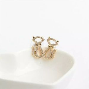 NWOT Kate Spade Pavé Cat Silhouette Stud Earrings